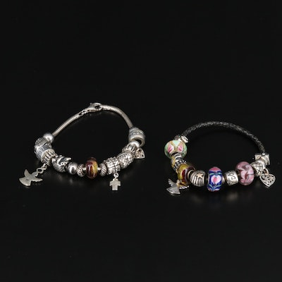 Sterling Charm Bracelets Featuring Pandora and 14K Accent