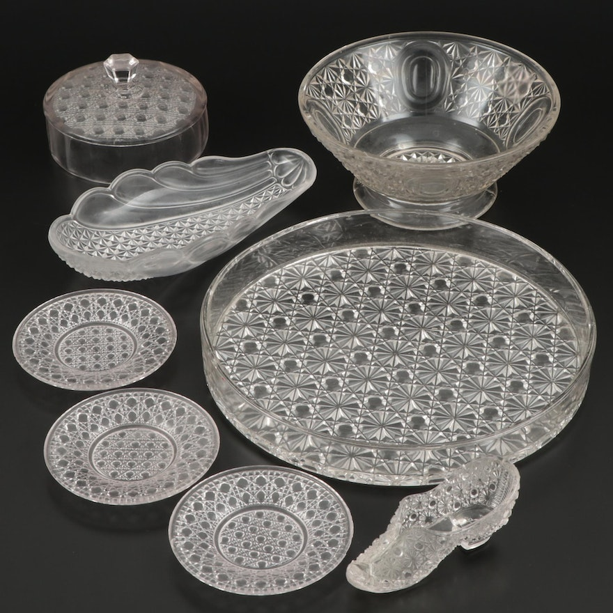 Daisy and Button Cut Pressed Glass Shoe, Tray, Saucers and EAPG Tableware