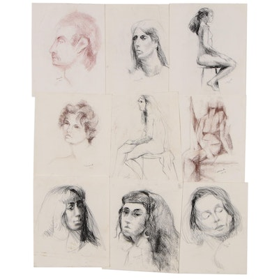 Shirley Resnick Conté Crayon and Charcoal Portrait Drawings, Late 20th Century