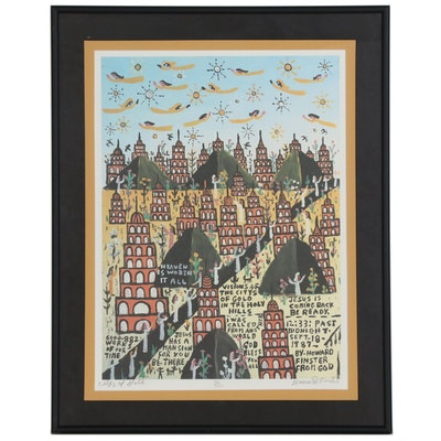 "Howard Finster Offset Lithograph ""Citys of Gold"", Late 20th Century"
