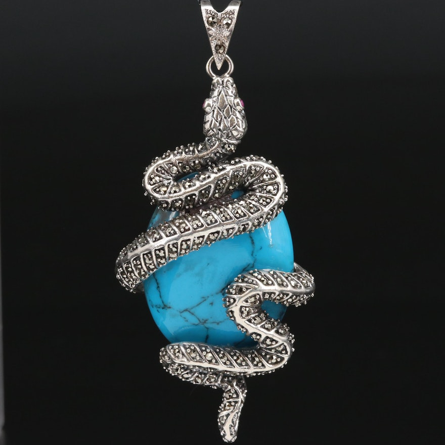 Sterling Silver Turquoise, Ruby and Marcasite Snake Pendant