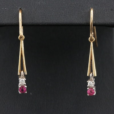 Vintage 14K Ruby and Diamond Dangle Earrings