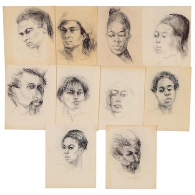 Shirley Resnick Charcoal Portrait Drawings, Late 20th Century