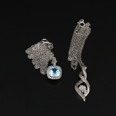 Sterling Silver Topaz Square and Diamond Twisted Pendant Necklaces