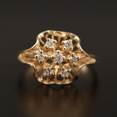 14K Diamond Cluster Ring with Openwork Design