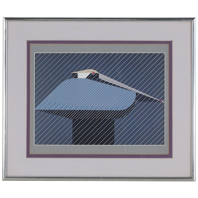 "Offset Lithograph after Charley Harper ""Pelican in a Downpour"", 21st Century"