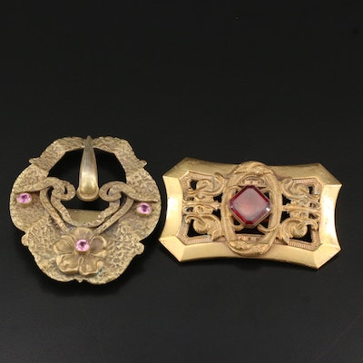 Art Nouveau Sash Buckle and Snake Motif Brooch