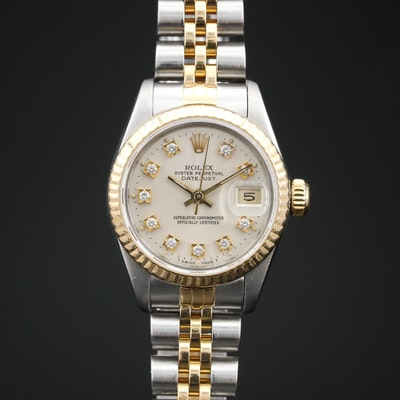 1989 Rolex Datejust Diamond Dial, 18K and Stainless Steel Automatic Wristwatch