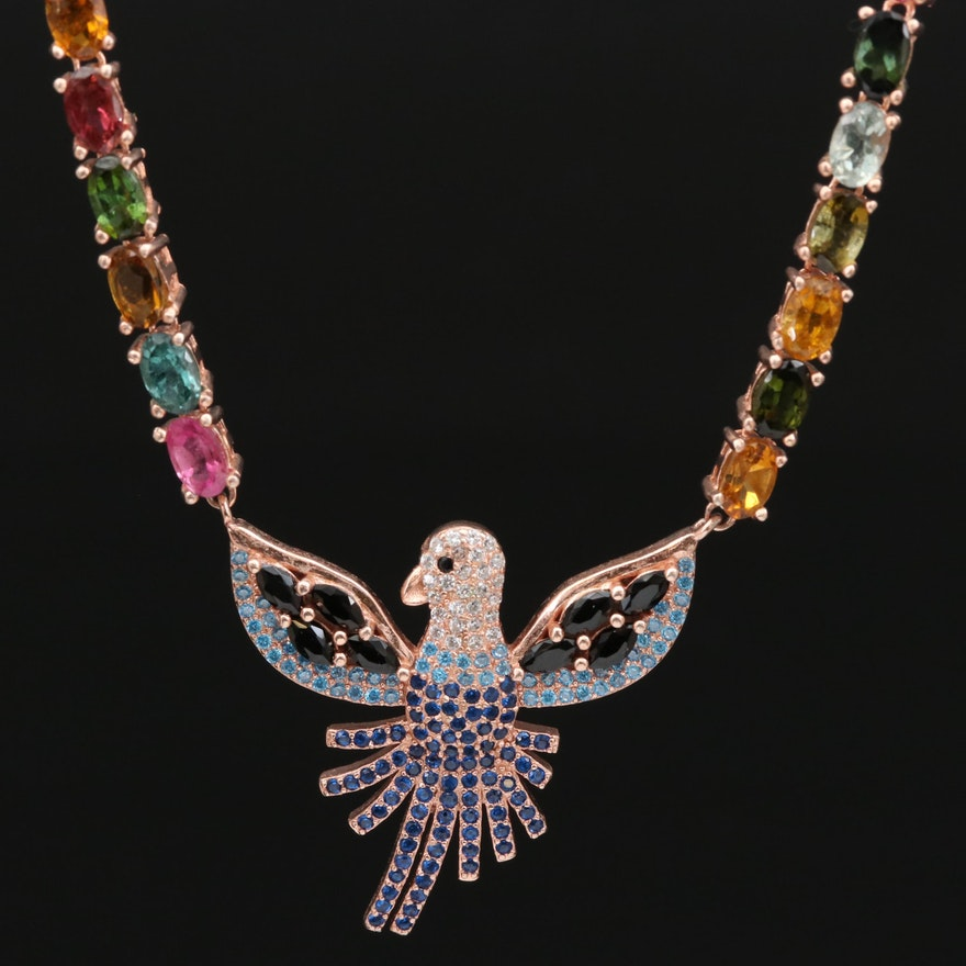 Sterling Silver Bird Stationary Pendant Necklace Including Tourmaline and Glass