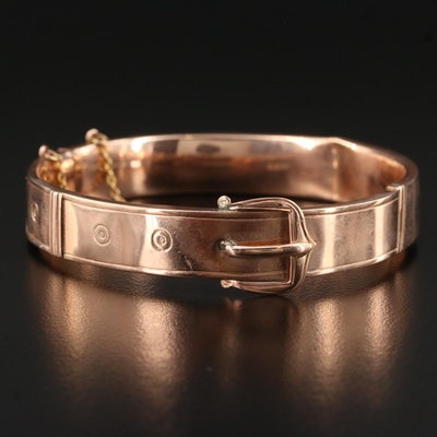 Circa 1906 Henry Griffith and Sons 9K Rose Gold Buckle Bangle