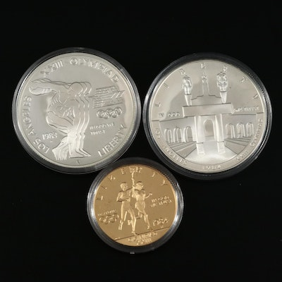 1984 Olympic Gold and Silver Commemorative Three-Coin Proof Set