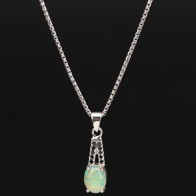 Sterling Silver Opal and Spinel Pendant Necklace