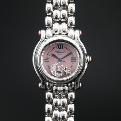 "Stainless Steel Chopard ""Happy Sport"" Moon & Stars Diamond Quartz Wristwatch"