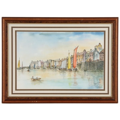 Betty Norton Embellished Watercolor Painting of a Harbor Scene, 1993