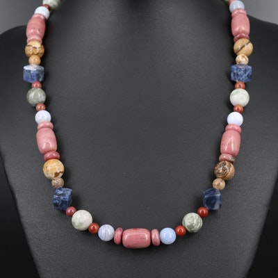 Sterling Silver Necklace with Sodalite, Lace Agate and Rhodonite