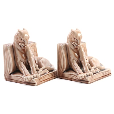 Rookwood Pottery Wine Glaze Panther Bookends Modeled by William McDonald, 1944