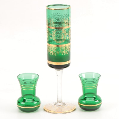 Green and Gold Gilt Glass Vases and Candle Holder, Mid 20th Century