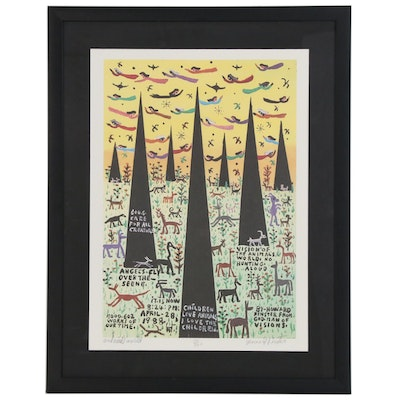 "Howard Finster Offset Lithograph ""Animals World"", Late 20th Century"
