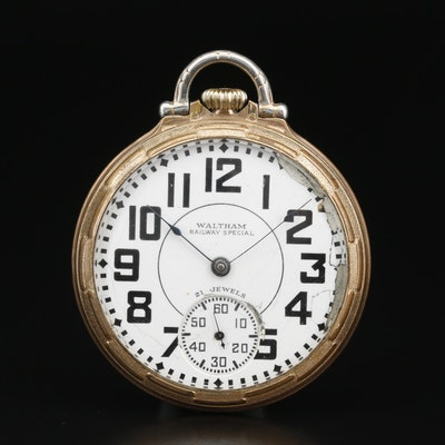 1936 Waltham Riverside Rolled Gold Plate Open Face Pocket Watch