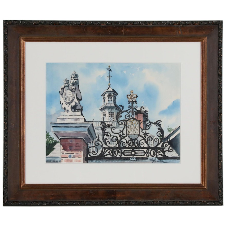 Watercolor Painting of Governor's Palace Gate in Virginia, 21st Century