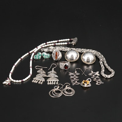 Sterling Silver Cultured Pearl, Citrine and Garnet Jewelry