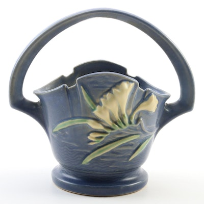 "Roseville Pottery Blue ""Freesia"" Basket, Mid-20th Century"