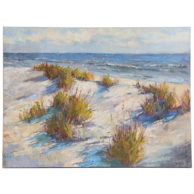 "Joanne Geisel Impressionist Style Oil Painting ""Dunes"", 21st Century"