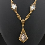 Art Deco Rhinestone Filigree Lavalier Necklace
