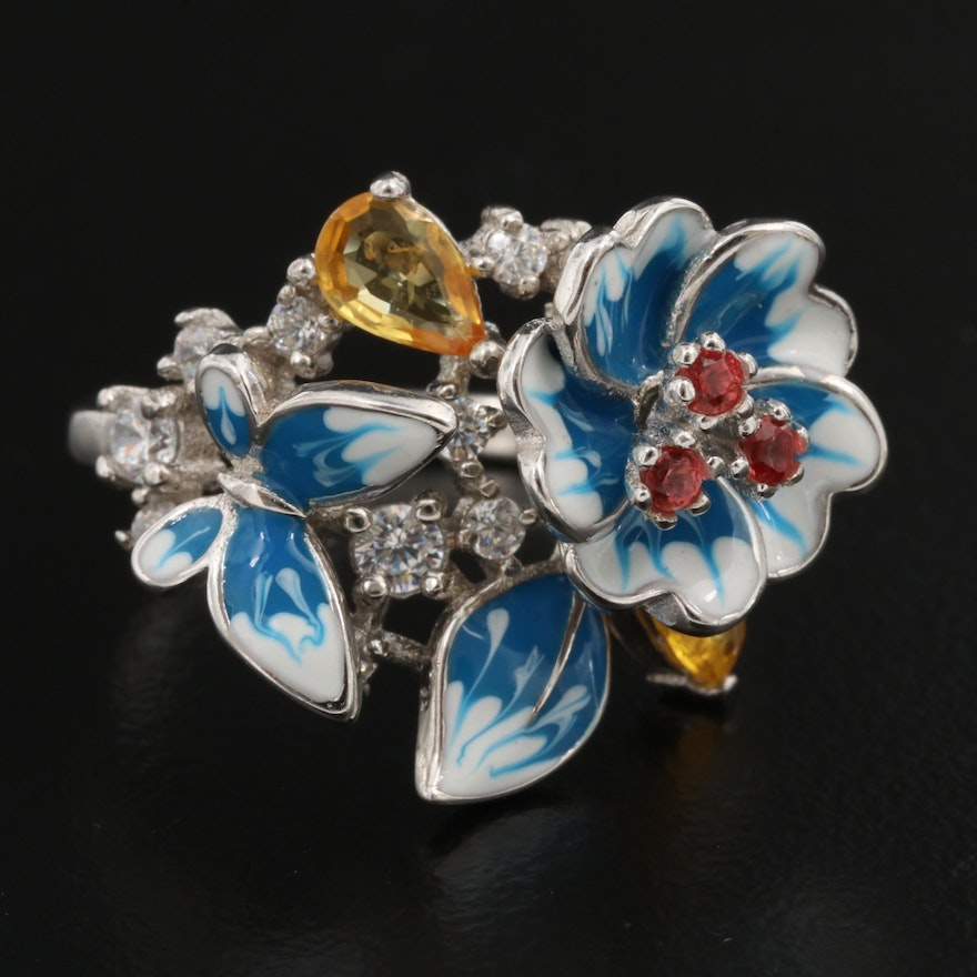 Sterling Silver White and Blue Enamel Flower and Butterfly Cluster Ring