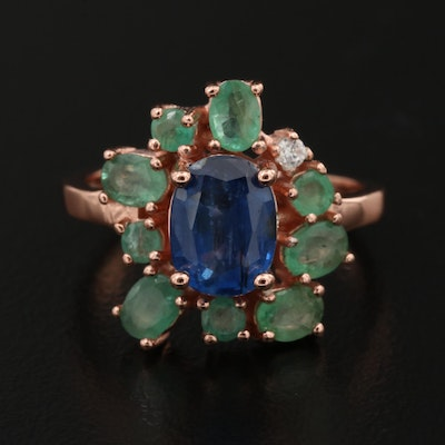 Sterling Silver Kyanite, Emerald and Cubic Zirconia Cluster Ring