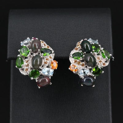 Sterling Silver Opal, Diopside and Aquamarine Cluster Earrings