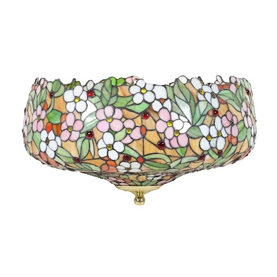 Floral Stained Glass Pendant Light, 21st Century