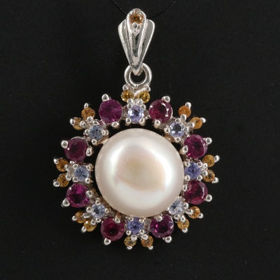 Sterling Silver Pearl, Garnet and Tanzanite Pendant