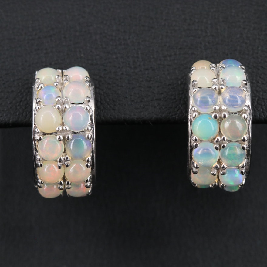 Sterling Silver Opal Double Row Half Hoop Earrings
