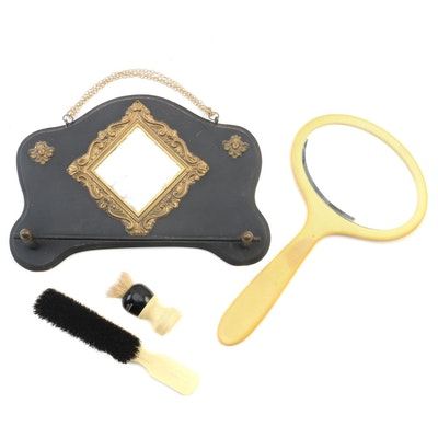 Beveled Glass Miniature Vanity Mirror and Other Vanity Accessories