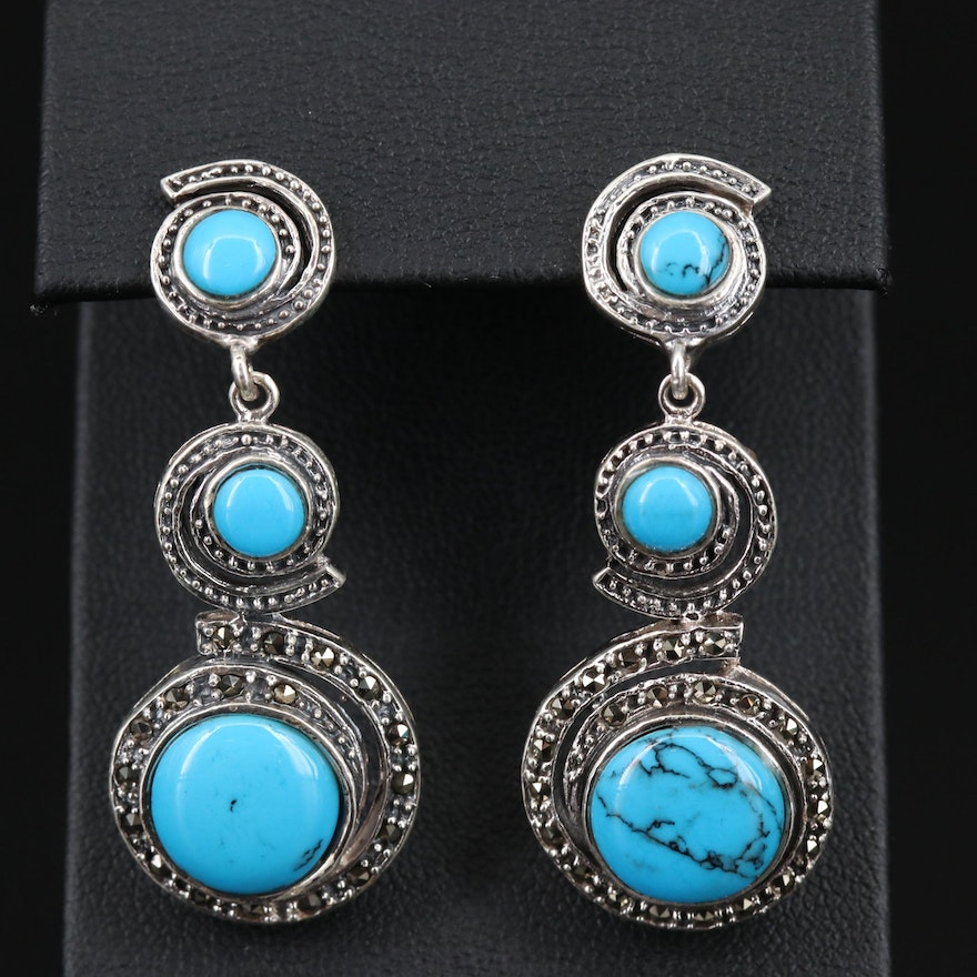 Sterling Silver Turquoise and Marcasite Spiral Dangle Earrings