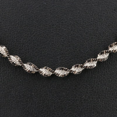 Sterling Silver Twisted Patterned Chain Necklace