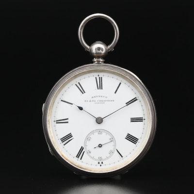 Sterling Silver Bennet 65 & 64 Cheapside London Pocket Watch