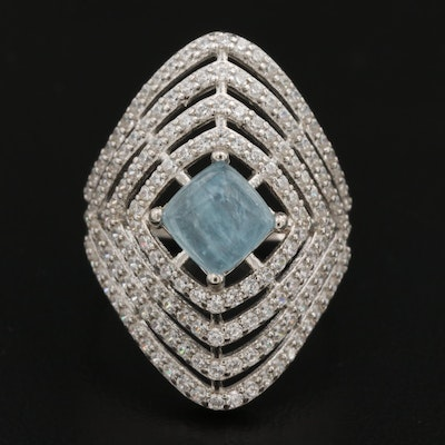 Sterling Silver Cubic Zirconia Framed Aquamarine Ring