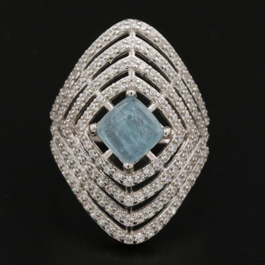 Sterling Silver Cubic Zirconia Framed Aquamarine Ring