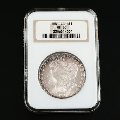 Better Date Low Mintage NGC Graded MS65 1881-CC Morgan Silver Dollar