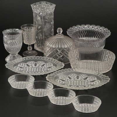 Daisy and Button Bowl and Other Pressed Glass Tableware, Early to Mid 20th C.