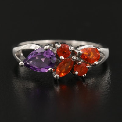 Sterling Silver Amethyst and Fire Opal Ring