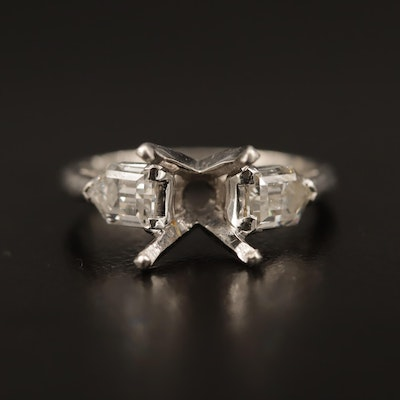 Platinum 1.10 CTW Diamond Semi-Mount Ring