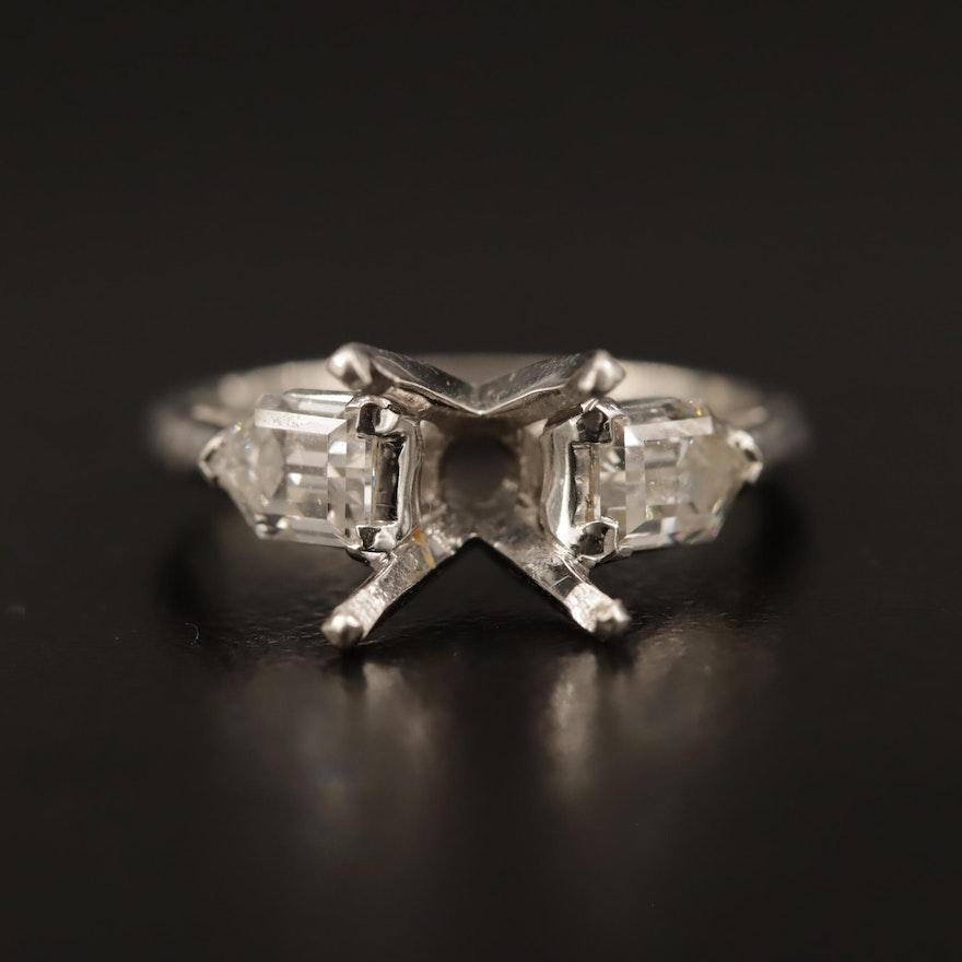 Platinum 1.10 CTW Diamond Semi-Mount Ring