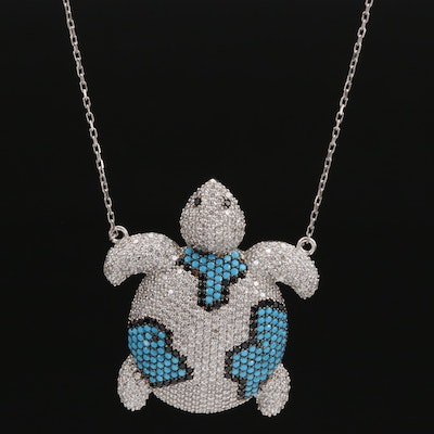Sterling Silver Spinel, Glass and Cubic Zirconia Turtle Pendant Necklace