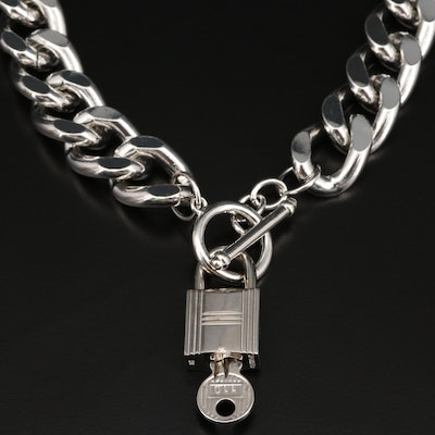 Hermès Lock and Key on Curb Chain Necklace