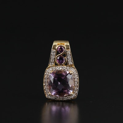 Sterling Amethyst and Diamond Pendant