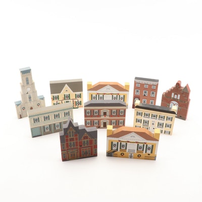 The Cat's Meow Village Hand-Decorated Christmas Series Wooden Buildings, 1990s