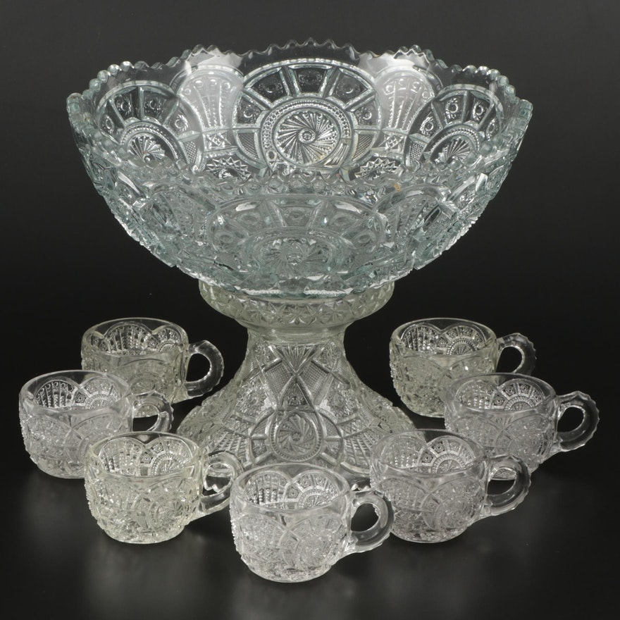 American Cut Glass Punch Bowl with Stand and Cups, Early 20th Century